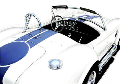 Indy Car Digital Art - White Ac Cobra by David Kyte