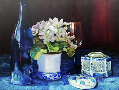 White African Violets Print by Marlene Book