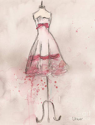 White And Pink Party Dress Print by Lauren Maurer