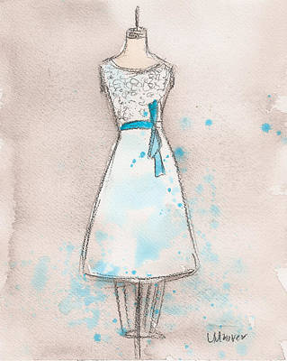 White And Teal Dress Print by Lauren Maurer