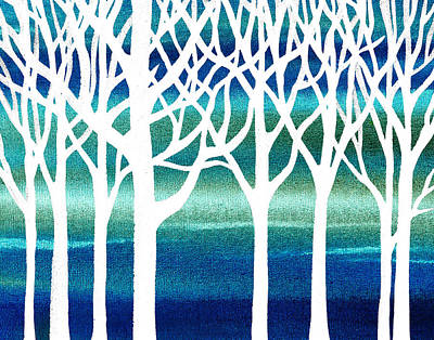 Abstract Painting - White And Teal Forest by Irina Sztukowski