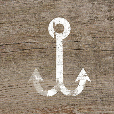 Natural Art Mixed Media - White And Wood Anchor- Art By Linda Woods by Linda Woods