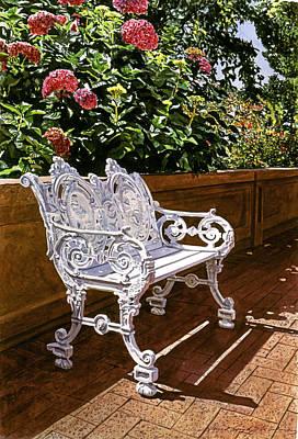 White Bench With Hydrangeas Print by David Lloyd Glover
