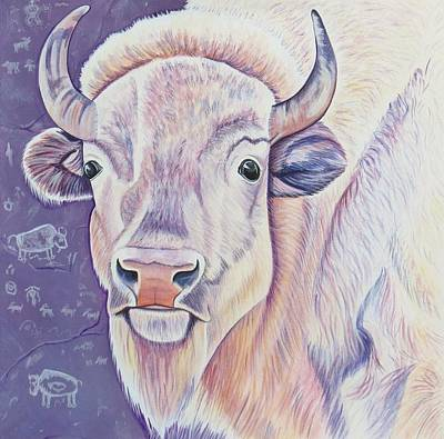 White Buffalo Print by Lucy Deane