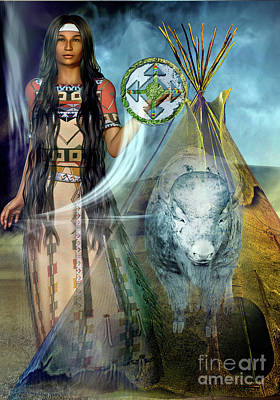 Bison Digital Art - White  Buffalo  Calf Woman 2 by Shadowlea Is