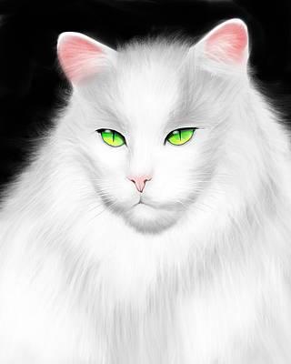Painting - White Cat by Salman Ravish