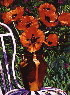 White Chair, Red Poppies Print by David Lloyd Glover