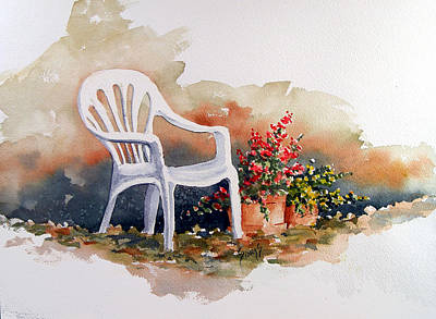 White Chair With Flower Pots Print by Sam Sidders