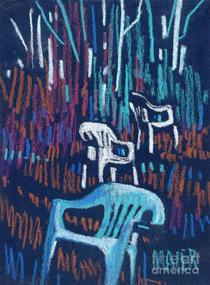 Lawn Chairs Drawing - White Chairs by Donald Maier