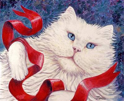 White Christmas Cat Print by Linda Mears