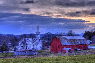 Red Barn In Winter Photograph - White Church And Red Barn - Peacham Vermont by Joann Vitali