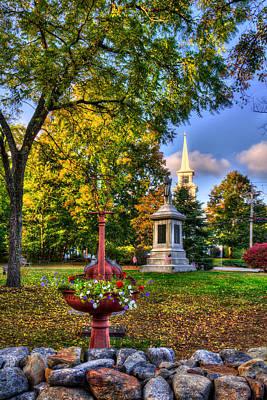 New England Photograph - White Church In Autumn - Hopkinton Nh by Joann Vitali