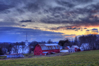 Red Barn In Winter Photograph - White Church Red Barn Country Scene - Peacham Vermont by Joann Vitali