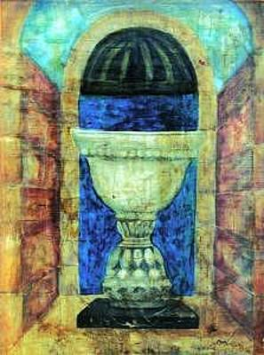 Chalice Mixed Media - White Classic Vase  In Chalice Style  A Nouveau Fresco Paintings by Judy Loper