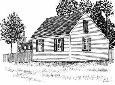 White Cottage With Church In The Background Print by Dawn Boyer