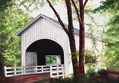 White Covered Bridge Print by Yvonne Hazelton