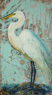 Sign In Florida Painting - White Crane by Billie Colson