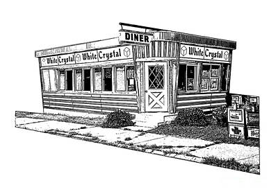 White Crystal Diner Nj Sketch Print by Edward Fielding
