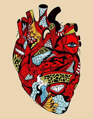 Drawing - White Diamond Heart by Kenal Louis