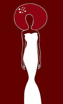 Red Abstract Drawing - White Dress by Frank Tschakert