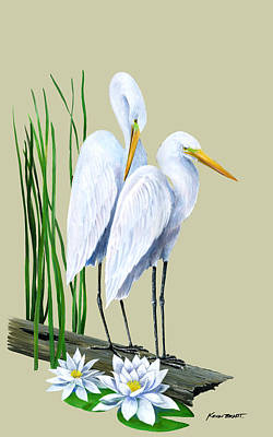 White Egrets And White Lillies Print by Kevin Brant