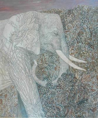 White Elephant Print by Andrey Gurenko