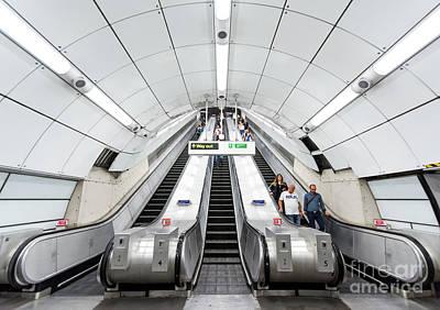 London Tube Mixed Media - White Escalator by Svetlana Sewell