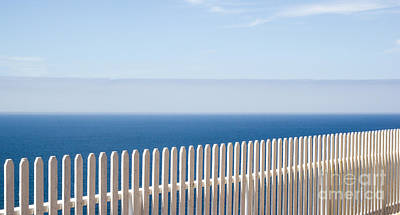 White Fence And Fog Print by Juan Romagosa