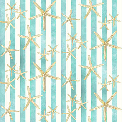 Coastal Painting - White Finger Starfish Watercolor Stripe Pattern by Audrey Jeanne Roberts