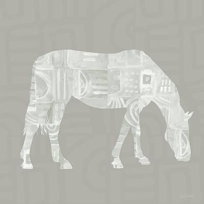 White Horse 2- Art By Linda Woods Print by Linda Woods