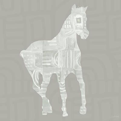 White Horse 3- Art By Linda Woods Print by Linda Woods
