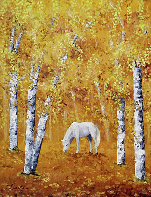 White Horse In Golden Woods Original by Laura Iverson