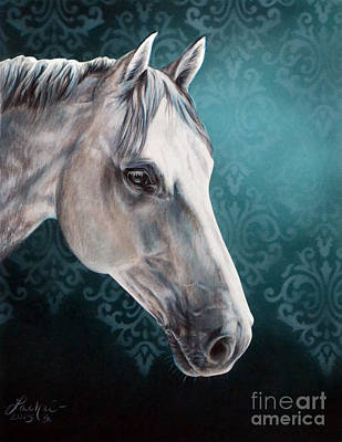Damask Drawing - White Horse by Lachri