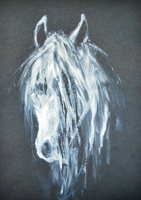 Portrait Painting - White Horse Portrait 1 - By Diana Van by Diana Van