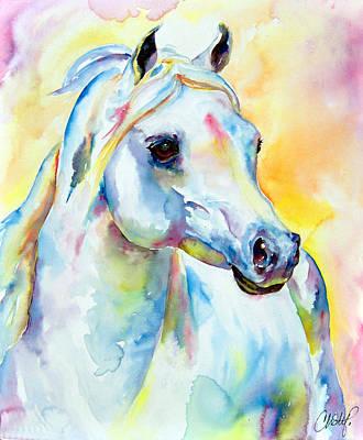 Unicorn Painting - White Horse Portrait by Christy  Freeman