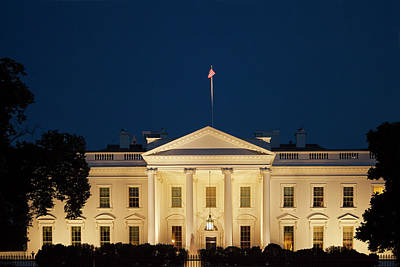 Old Glory Photograph - White House At Twilight by Andrew Soundarajan