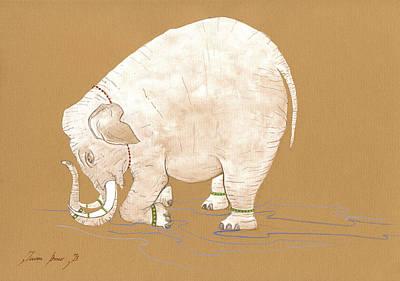 White Indian Elephant Print by Juan Bosco