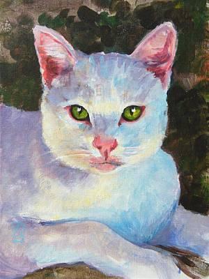 White Kitty Print by Debra Jones