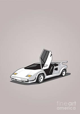 White Lamborghini Countach Print by Monkey Crisis On Mars