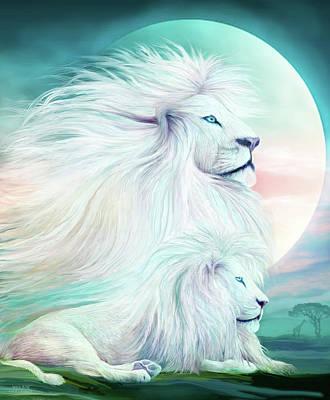 Lion Art Mixed Media - White Lion - Spirit King by Carol Cavalaris