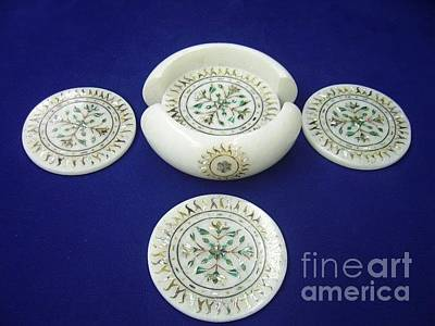Inlay Marble Flower Pots Glass Art - white marble Inlay Coaster sets by Mohammad Azhar