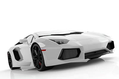 Lamp Photograph - White Metallic Fast Sports Car On White Background Studio. Shiny by Michal Bednarek