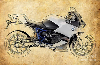 Motorcycle Mixed Media - White Motorcycle Bmw by Pablo Franchi
