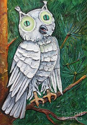 White Owl With Green Eyes Print by Kristian Leov