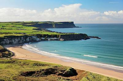 Portbraddon Photograph - White Park Bay On The County Antrim Coast, Ireland. Portbraddon And The Giants Causeway Headlands by David Lyons