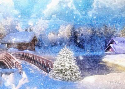 Snow . Bridge Painting - White Path by Mo T