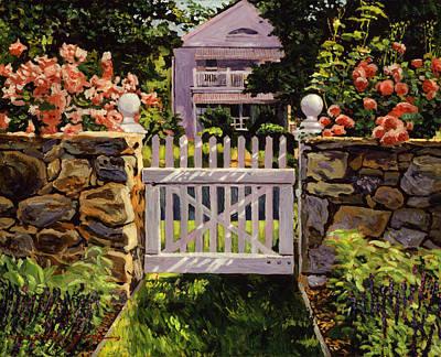 Garden Gates Painting - White Picket Gate by David Lloyd Glover