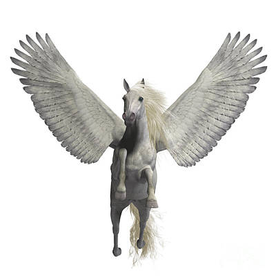 Pegasus Digital Art - White Pegasus On White by Corey Ford