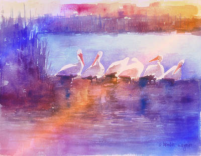 Pelican Painting - White Pelicans by Arline Wagner