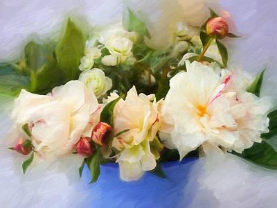 White Peonies Print by Impressionist Art